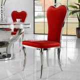 Indoor Furniture Beautiful Red PU Metal Legs Dining Room Chair