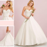 2017 Hotsale Bow Simple Flare out Boned Ball Gown Satin Wedding Gown (Dream-100001)
