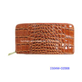 Brand New Croco Pattern PU Leather Women Zippy Clutch