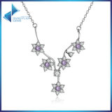 925 Sterling Silver Flowers Purple CZ Chain Necklace