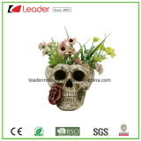 Resin Skull Flowerpots with Biting a Rose for Home Decoration and Garden Ornaments