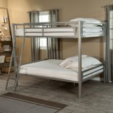 Contemporary Full Over Full Metal Bunk Bed in Silver Finish