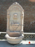 Carved Beige Marble Stone Lion Outdoor Wall Fountains for Garden