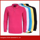 Customized Polyester Cheap Promotion Long Sleeve Polo Shirts (P162)