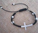 Rhinestone Sideways Cross Bracelet, Shamballa Bracelet, Fashion Jewelry