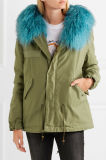 2017 Winter Coat Shearling-Lined Cotton-Canvas Parka with Faux Fur Collar
