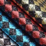 Fashion Glitter Lattice Design Artificial PU Leather Faux Bag Leather