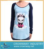 Lady Cute Printing Long T-Shirt with Raglan Sleeves
