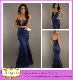 New Style Mermaid Satin Beaded Sweetheart Sleeveless Dark Blue Evening Gowns for Teenagers Yj0059