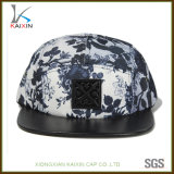 Custom Hip Hop Leather Brim Floral 5 Panel Hat