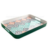 Bicolor Melamine Rectangle Tray with Handle (TR084)
