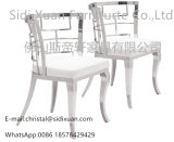 Moder Geometric White Leatherette Dining Chair for Living Room Furniture