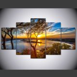 5 Panel HD Printed Tree Painting Painting on Canvas Decoration Print Poster Picture Canvas Framed Ym-002