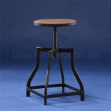 Wooden Seat Industrial Iron Tube Adjustable Bar Stool (SP-MC050)