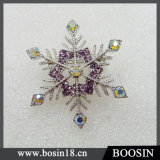 Trendy Female Snowflake Rhinestones Brooch #5203
