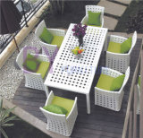 7 PCS Dining Room Outdoor Garden Patio PE Rattan Furniture