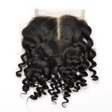 Brazilian Virgin Hair Hand Tied Middle Part Kinky Curl Lace Closure