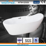 White/Black Painting Unique Oval Acrylic Freestanding Bathtub