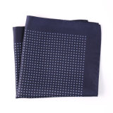 Fashionable Navy Silk Polyester Dots Printed Pocket Square Hanky Handkerchief