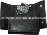 New Fashion Genuine Leather Fold Men Key Wallet Chain Holder