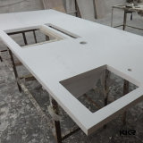 Modern White Customized Solid Surface Kitchen Island