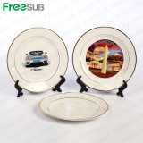 """Freesub 8"""" Double Golden Rim Sublimation Blank Ceramic Plate (CY10B)"""