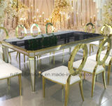 Luxury Gold Stainless Steel Mirrored Tempered Glass Top Dining Table