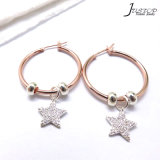 Women Fashion Jewelry Gold & Silver Color Star Pendant CZ Stone Earrings for Promotion Gift