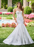 Strapless Swetheart Bridal Gowns Mermaid Silver Lace Ivory Satin Wedding Dress 2018 S51249