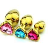 Golden Metal Jewelled Plug Anal Butt Booty Beads Heart Shape Sex Anal Toys Medium Size Adult Sex Toys Products