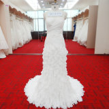 Fantacy Mermaid Wedding Gown with Beading Rouched Bodice Ruffles Layers