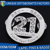 Custom Lapel Pin Souvenir Metal Badge Number with Rhinestones Diamond