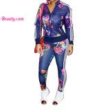 Printed Zipper Long Sleeve Sportswear Sports Wear Yoga Bra