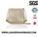 Fashion Women Shell Shape Gold Clutches Evening Leather Handbag (LDO-15761)