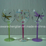 Hand Painted Red Wine Glasses (B-RW003)