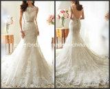 Sheer Neckline Lace Wedding Gown Vestidos Mermaid Bridal Wedding Dress (L15351)