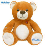 Lovely Custom Plush Smile Teddy Bear with Embroidery on Foot