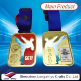 Hongkong Taekwondo Gold Medal Metal Rectangular Hollow Medals with Clear Epoxy Domed (lzy00013)