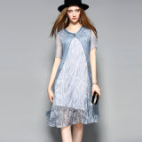Silk Dress Women Double Layers Short Sleeves Casual Ladies Dress Garment