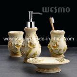 Floral Polyresin Bathroom Set (WBP0968A)