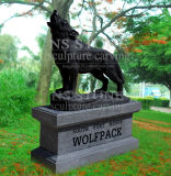 Black Marble Wolf Statue- Na1771