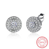 925 Sterling Silver Three Round Shape with Zircon Silver Earrings