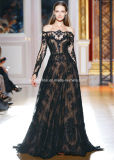 Black Lace Long Sleeves Zuhairmurad Bridal Wedding Dress H5212