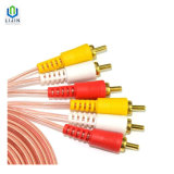 3 Male to 3 Male RCA Transparent Wrapping Cable