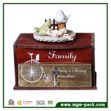 House Design Wooden Music Box with Ceramic Bird