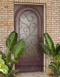 Forged Wrought Iron Single Door with Operable Glass Design
