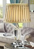 Phine 90101 Clear Crystal Table Lamp with Fabric Shade