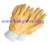 Cotton Glove. Yellow Nitrile, Full Coated