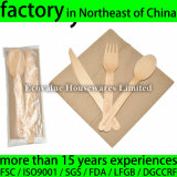 Birch Wood Disposable Cutlery Set Kit, Knife, Fork, Spoon, Napkin
