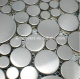 Kitchen Backsplash Wall Silver Stainless Steel Mosaic Tiles on Mesh Sheet